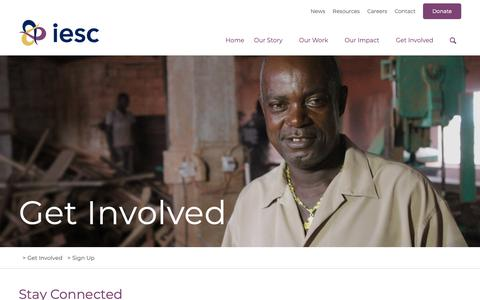 Screenshot of Signup Page iesc.org - Sign Up | IESC - captured Oct. 12, 2018