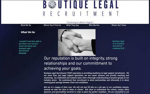 Screenshot of Testimonials Page boutiquelegalrecruitment.com.au - boutiquelegal - captured Sept. 30, 2014