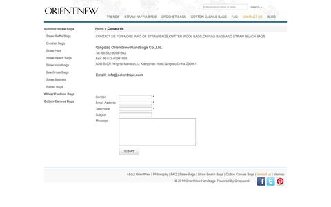 Screenshot of Contact Page orientnew.com - Contact OrientNew for Straw Bags,Straw Beach Bags,Straw Handbags and Cotton Canvas Bags - captured Oct. 2, 2014