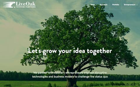 Screenshot of Home Page liveoakvp.com - LiveOak Venture Partners - captured Oct. 3, 2014