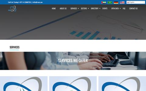 Screenshot of Services Page racs-me.com - Industries and Services - captured Oct. 19, 2017