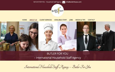 Screenshot of About Page butlerforyou.com - Household Staff Agency - Butler For You - captured July 13, 2018