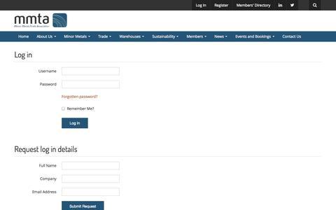 Screenshot of Login Page mmta.co.uk - Frontend Login • MMTA - captured Oct. 4, 2014