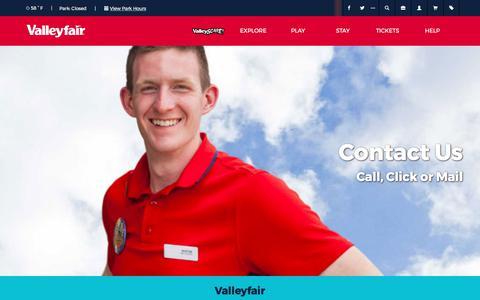 Screenshot of Contact Page valleyfair.com - Contact Us   Valleyfair - captured Oct. 19, 2017