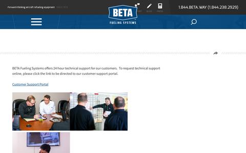 Screenshot of Support Page betafueling.com - - BETA Fueling Systems - captured March 1, 2016