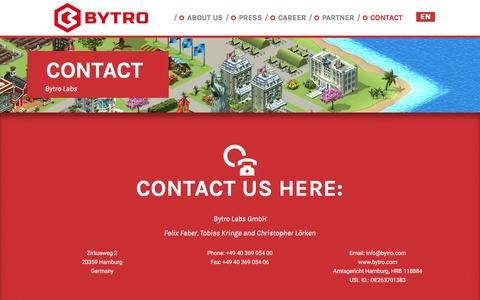 Screenshot of Contact Page bytro.com - Contact - Bytro Labs - captured Sept. 12, 2016