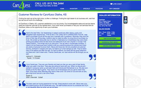 Screenshot of Testimonials Page cars4.com - Cars4Less | Olathe, KS Used Car Dealership Near Kansas City - captured Oct. 2, 2014