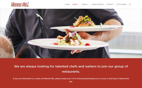 Screenshot of Jobs Page mymammamia.com - Careers in our Swansea Italian-owned Restaurant - captured March 14, 2016