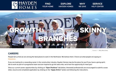 Screenshot of Jobs Page hayden-homes.com - Why Work at Hayden Homes? - captured Sept. 27, 2018