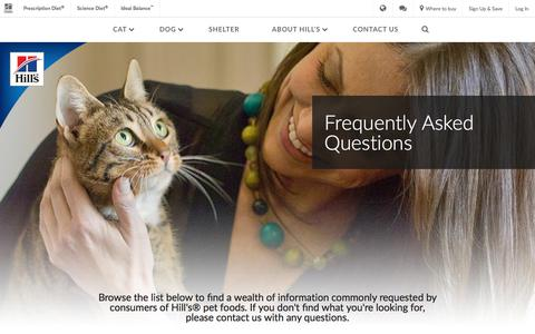 Screenshot of FAQ Page hillspet.com - Frequently Asked Questions - Answers for Your Pet | Hill's Pet - captured Nov. 2, 2017