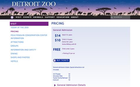 Screenshot of Pricing Page detroitzoo.org - Pricing - Detroit Zoo - captured June 27, 2017