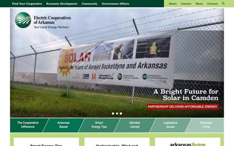 Screenshot of Home Page aecc.com - Electric Cooperatives of Arkansas - captured Oct. 8, 2017