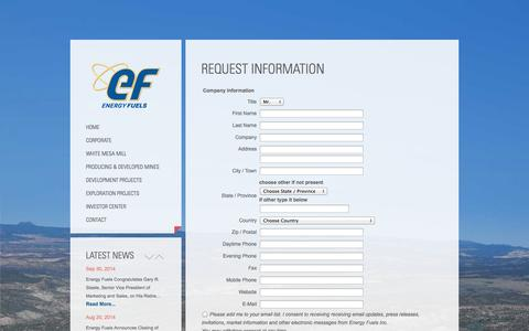 Screenshot of Signup Page energyfuels.com - Request Information | Energy Fuels Inc. - captured Oct. 3, 2014