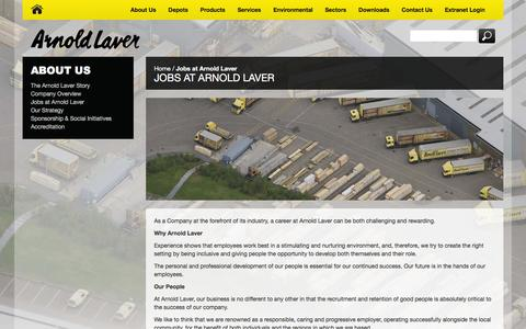 Screenshot of Jobs Page laver.co.uk - Jobs at Arnold Laver - captured Feb. 6, 2016