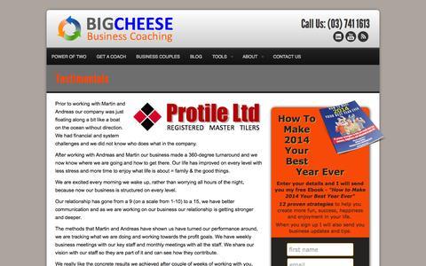 Screenshot of Testimonials Page big-cheese.co.nz - Testimonials - captured Oct. 5, 2014