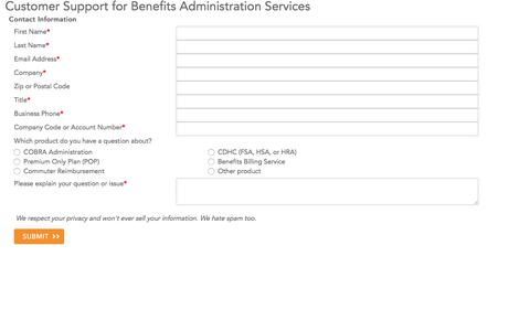 Benefits Customer Support Inquiry form | Ceridian