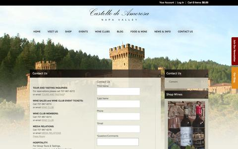 Screenshot of Contact Page castellodiamorosa.com - Castello di Amorosa - Contact Us - captured June 1, 2018