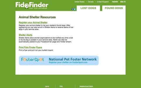 Screenshot of Signup Page fidofinder.com - Animal Shelter Resources - Fido Finder - captured Dec. 5, 2016