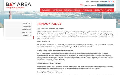 Screenshot of Privacy Page bacomputersolutions.com - BACS: Online Privacy Policy - captured Nov. 3, 2014
