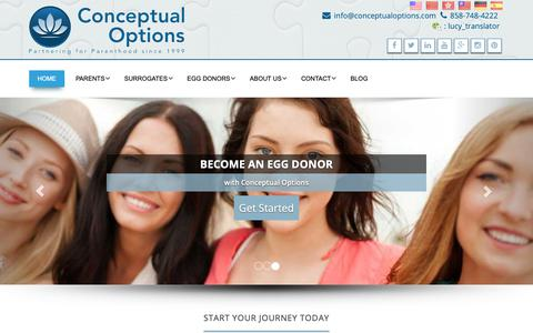 Screenshot of Home Page conceptualoptions.com - Conceptual Options – Surrogacy Agency & Egg Donation Agency - captured Sept. 27, 2018