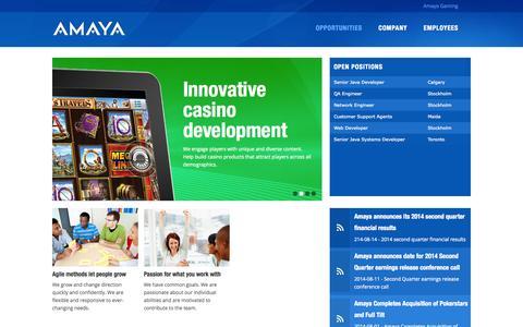 Screenshot of Jobs Page amayagaming.com - | AMAYA Careers - captured Sept. 13, 2014