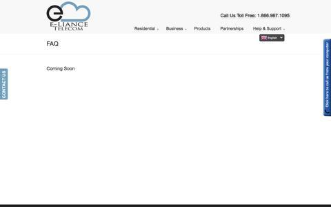 Screenshot of FAQ Page elianceinc.com - FAQ | E-liance Inc. - captured Sept. 26, 2014