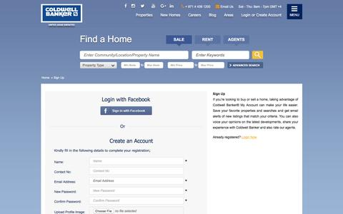 Screenshot of Signup Page coldwellbanker.ae - Sign Up - captured March 11, 2016