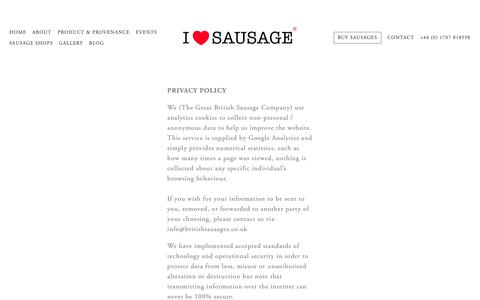 Screenshot of Privacy Page britishsausages.co.uk - Privacy Policy — The Great British Sausage Co. - captured Sept. 30, 2018