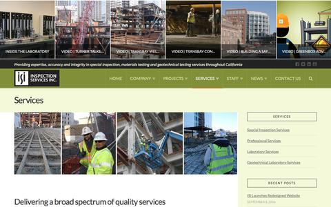 Screenshot of Services Page inspectionservices.net - Services | Inspection Services, Inc. - captured Oct. 15, 2017