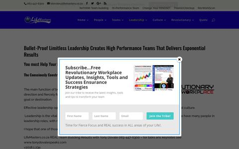 Screenshot of Team Page lifemasters.co.za - Limitless Leadership Creates High Performance Team Building & greater commitment - captured July 19, 2018