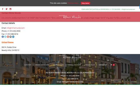 Screenshot of Contact Page ritmomundo.com - Contact Ritmo Mundo – Ritmo Mundo Watches For Sale Online / Beverly Hills - captured June 15, 2017