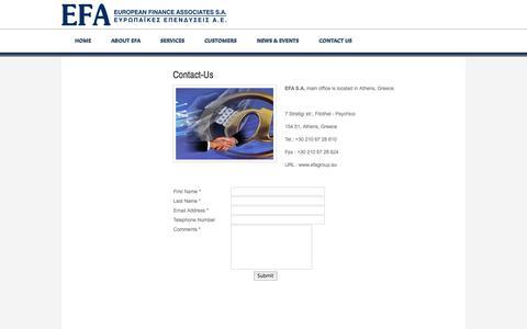 Screenshot of Contact Page efagroup.gr - Contact-Us - European Finance Assosiates Group of Companies - - captured Sept. 29, 2014