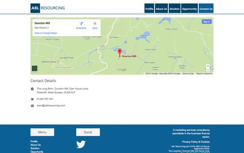 Screenshot of Contact Page ablresourcing.com - ABL Resourcing  » Contact Us - captured Sept. 30, 2014