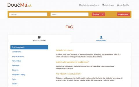 Screenshot of FAQ Page doucma.sk - FAQ   DoučMa.sk - captured Sept. 25, 2018