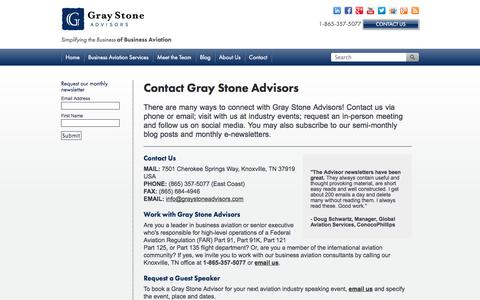Screenshot of Contact Page graystoneadvisors.com - Contact Gray Stone Advisors - captured Oct. 27, 2014