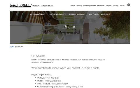 Screenshot of Pricing Page awhooker.com - Pricing - Quantity Surveyors & Cost Consultants - captured Sept. 24, 2018