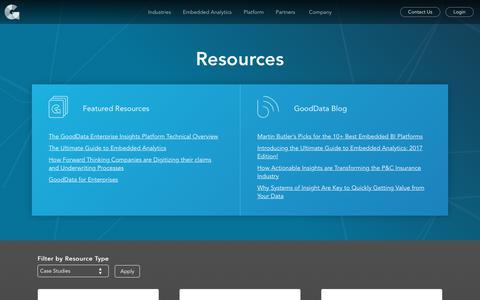 Screenshot of Case Studies Page gooddata.com - Resources | GoodData - captured Nov. 17, 2017