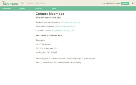 Screenshot of Contact Page bloompop.com - Contact Bloompop Headquarters and Customer Service - captured Sept. 30, 2014