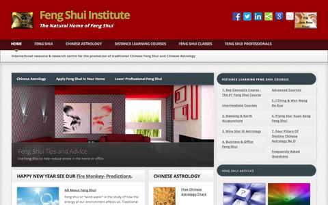 Screenshot of Home Page feng-shui-institute.org - Feng Shui Institute International - Traditional Chinese Feng Shui and Chinese Astrology - captured March 11, 2016