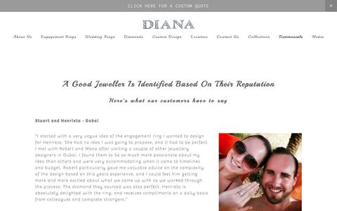 Screenshot of Testimonials Page dianajewellery.com - Testimonials — Customised Jewellery Designs in Dubai - captured Aug. 1, 2016