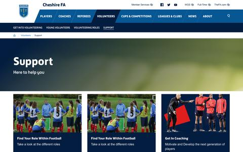 Screenshot of Support Page cheshirefa.com - Support - Cheshire FA - captured Dec. 14, 2018
