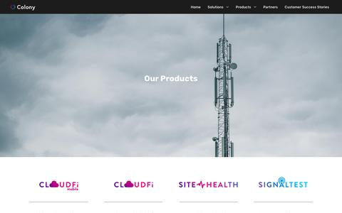 Screenshot of Products Page colonynetworks.com - Products - Colony Networks - captured Feb. 21, 2019