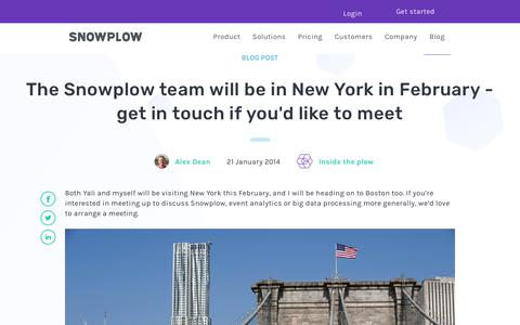 Screenshot of Team Page snowplowanalytics.com - The Snowplow team will be in New York in February - get in touch if you'd like to meet - captured Feb. 10, 2020