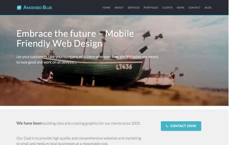 Screenshot of About Page Contact Page Services Page Press Page anodisedblue.com - Web Design in Ipswich and Suffolk   Anodised Blue Home - captured Oct. 29, 2014