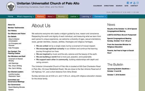 Screenshot of About Page uucpa.org - About Us - Unitarian Universalist Church of Palo Alto - captured Oct. 18, 2018