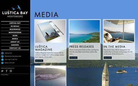Screenshot of Press Page lusticabay.com - Luštica in the Media | www.lusticabay.com - captured Sept. 30, 2014