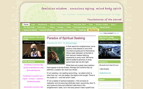 Screenshot of Home Page touchstonesofthesacred.com - Touchstones of the Sacred | Balancing Mind Body Spirit through Conscious Living and the Daily Practice of Mindful Eating, Exercise and Meditation - captured Oct. 7, 2014