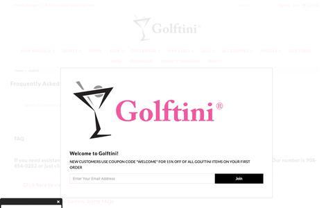 Screenshot of FAQ Page golftiniwear.com - Golftini - captured Oct. 21, 2018