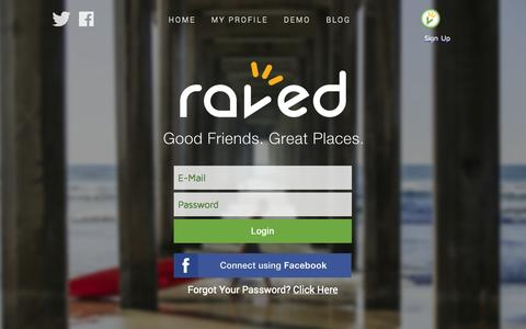 Screenshot of Login Page raved.com - Raved Login - captured Oct. 9, 2014