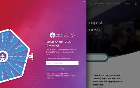 Screenshot of Home Page saastr.com - SaaStr   B2B SaaS Training, Events & More to Scale Your Business - captured Nov. 8, 2019